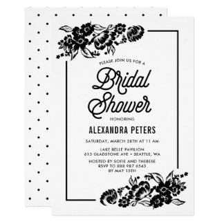 Black & White Modern Floral Accents Bridal Shower Card