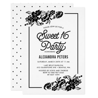 Black & White Modern Floral Accents Sweet Sixteen Card