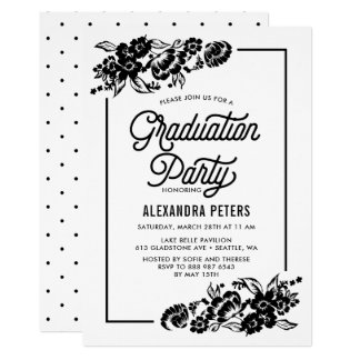 Black & White Modern Floral Graduation Party Card