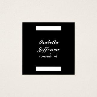 Black White Modern Minimalist Professional Elegant Square Business Card