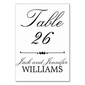 Black White Monogram Wedding Table Number Card Table Card