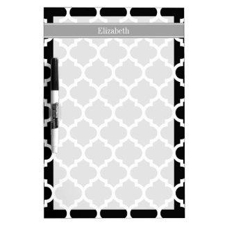 Black White Moroccan #5 Dark Gray Name Monogram Dry-Erase Boards
