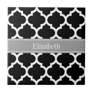 Black White Moroccan #5 Dark Gray Name Monogram Small Square Tile