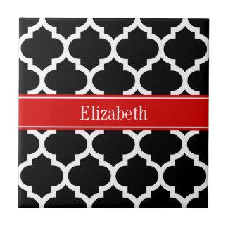 Black White Moroccan #5 Red Name Monogram Small Square Tile