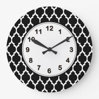 Black White Moroccan Quatrefoil Pattern #4 Large Clock
