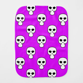 Black, White, Neon Purple Skulls Pattern Baby Burp Cloth