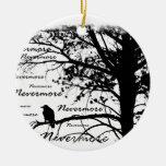 Black & White Nevermore Raven Silhouette Round Ceramic Decoration