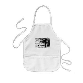 Black & White Nevermore Raven Silhouette Tree Kids Apron