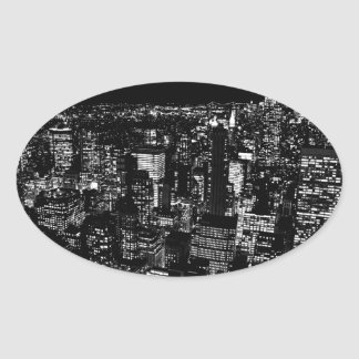 Black & White New York City Night Oval Sticker