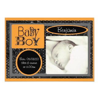 Black white orange baby boy photo announcements