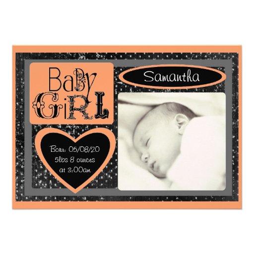 Black white orange custom baby photo announcements