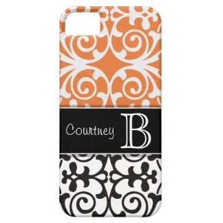Black White Orange Damask Personalized iPhone 5 iPhone 5 Cover
