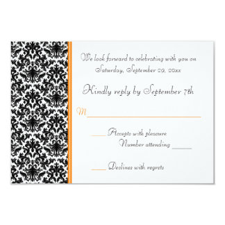 Black, White, Orange Damask RSVP Card 9 Cm X 13 Cm Invitation Card