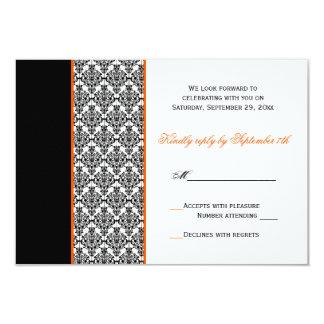 Black White Orange Damask RSVP Card 9 Cm X 13 Cm Invitation Card