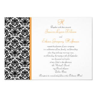 Black, White, Orange Damask Wedding Invitation