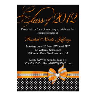 """Black White Orange Polka Dot Graduation Invitation 5"""" X 7"""" Invitation Card"""
