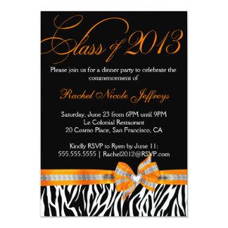 "Black White Orange Zebra Graduation Invitation 5"" X 7"" Invitation Card"