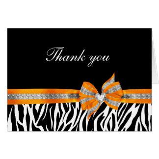 Black White Orange Zebra Thank You Card