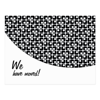 """Black-&-White Pattern """"We've Moved"""" Announcements Postcard"""