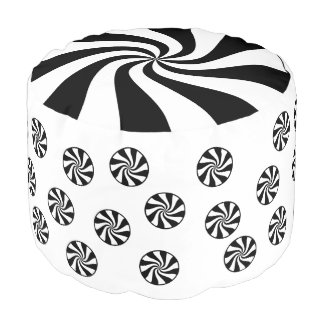 Black & White Peppermint Holiday Candy Pouf