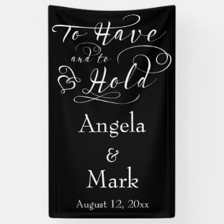 Black White Personalized Wedding Banner