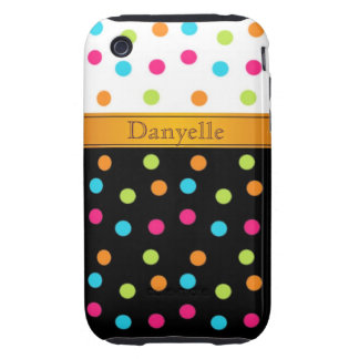 Black, white, pink, blue, green, orange polka dots iPhone 3 tough cover