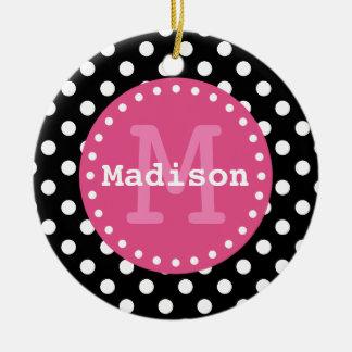 Black White Pink Polka Dots Monogram Christmas Ornament