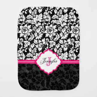 Black White & Pink Vintage Floral Damasks Burp Cloth