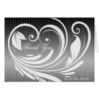 Black White Pinstripe Heart Wedding Thank You Note Card