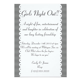 Black & White Pinstripes Girls Night Out Invites
