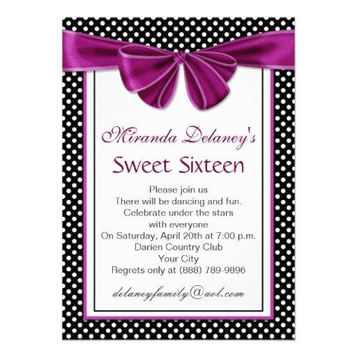 Black white polka dot, ribbon Sweet 16 Party Invite