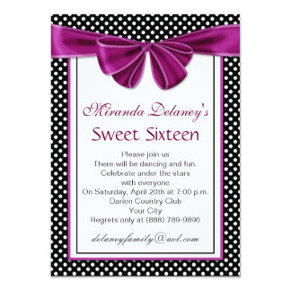 Black white polka dot, ribbon Sweet 16 Party Invite