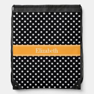 Black White Polka Dots Cantaloupe Name Monogram Drawstring Bag