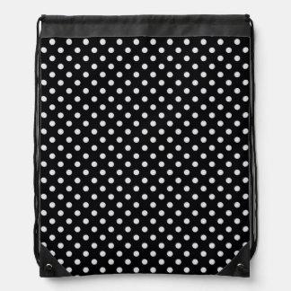 Black White Polka Dots Pattern Drawstring Bag