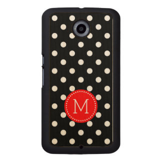 Black & White Polka Dots Pattern Wood Phone Case