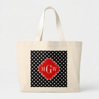 Black White Polka Dots Red Quatrefoil 3 Monogram Large Tote Bag