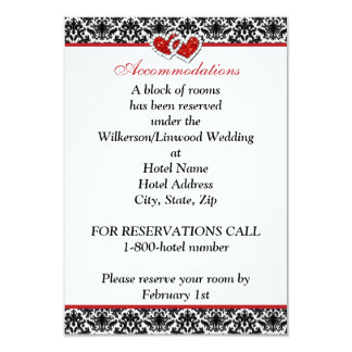 Black White Red Damask, Joined Hearts Insert Card 9 Cm X 13 Cm Invitation Card