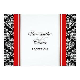 Black white red damask wedding engagement 13 cm x 18 cm invitation card
