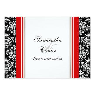 Black white red damask wedding engagement 5x7 paper invitation card