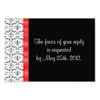 Black White Red Damask Wedding RSVP Card 9 Cm X 13 Cm Invitation Card
