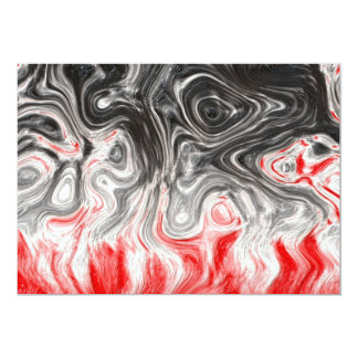 """BLACK WHITE RED FLAMES CONFUSION EMO EMOTIONS ABST 5"""" X 7"""" INVITATION CARD"""
