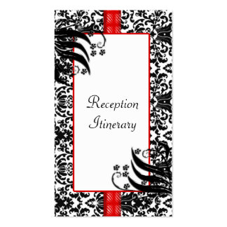 Black, White, & Red Floral Damask Business Card Templates