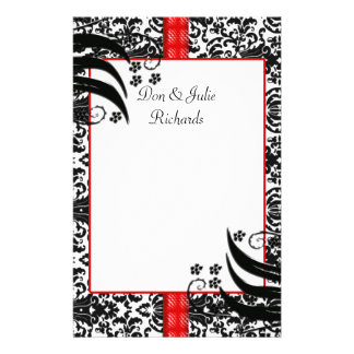 Black, White, & Red Floral Damask Personalized Stationery