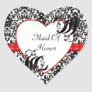 Black, White, & Red Floral Damask Heart Sticker