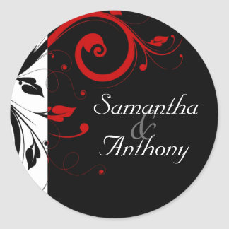 Black, White, Red Swirl Matching Envelope Seal