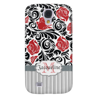 Black, white, red swirls roses iPhone 3G/3GS Spec Galaxy S4 Case