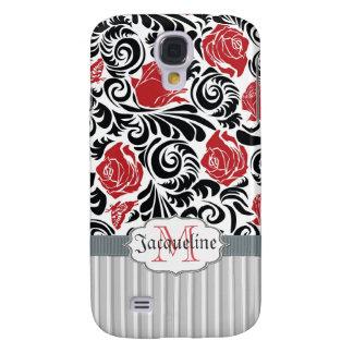 Black, white, red swirls roses iPhone 3G/3GS Spec Galaxy S4 Case