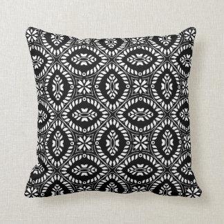 Black White Retro Vintage Print Pillow