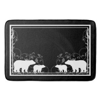 Black white rustic swirl bear memory foam bath mat