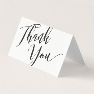 Black White Script Font Calligraphy Thank You Business Card